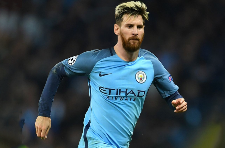 Messi playing for Manchester City