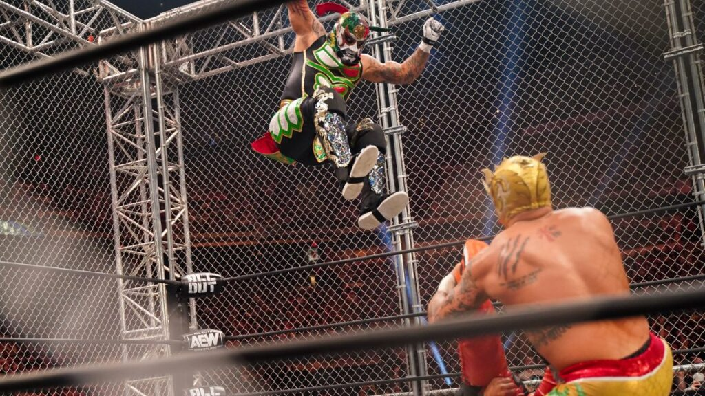 This image has an empty alt attribute; its file name is lucha-brothers-penta-el-zero-miedo-young-bucks-steel-cage-september-7-a-1024x576.jpg